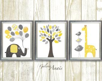Yellow and gray Nursery art wall decor baby nursery decor Children Kids art elephant nursery giraffe nursery bird Tree - Set of three prints