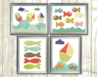 Nautical nursery art blue orange green - children wall decoration - baby art nursery boat fish ocean sea - Playroom - Set of 4 Prints