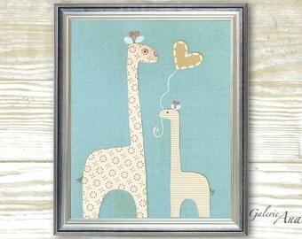 Baby boy nursery kids Room - Baby decor nursery - kids art - kids room deco r- boy room - kids Giraffe - I Love You Mommy print