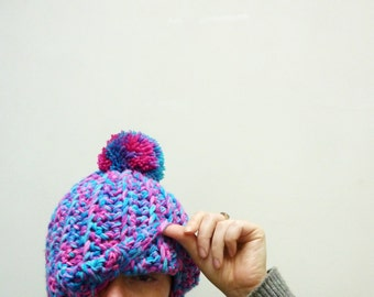 Sale! Pinky Purple Candy Color Pom Pom Hat. Super Chunky & Fun. Animal Friendly Vegan Yarn