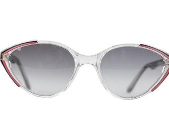 Auth YVES SAINT LAURENT Vintage mint cat-eye sunglasses black/red asios 56-18