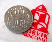 Viking Coin Replica Made of Pewter with Information Sheet - Ancient Penny with Thor's Hammer