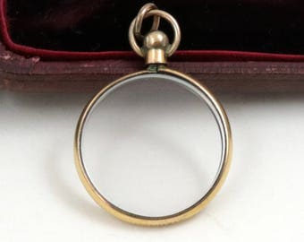 Antique Edwardian Double Sided Glass Photo Locket, Rolled Gold Picture Locket Pendant