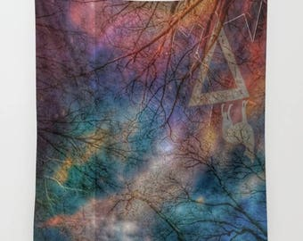 Wolf Night Wall Tapestry, Trees, Forest, Night Sky Home Decor, Nature Tapestry, Home Decor, Whimsical Tree Branches, Woodland, Woods, Wild