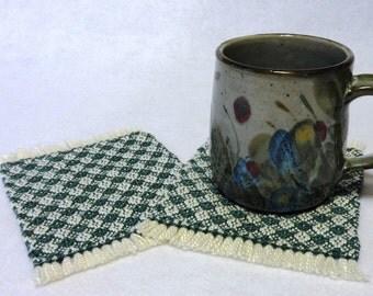 Drink Coasters, Woven Coasters, Handwoven Mug Rugs, Woven Mug Rugs, Handwoven Coasters, Natural and Dark Teal, Set of 2 (#17-05 dark teal)