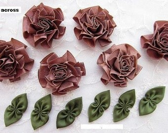 6 pc BROWN 6 pc GREEN Satin Ribbon Fabric Flower Applique Shabby Chic Baby Doll Carnation Cabbage Rose Bow