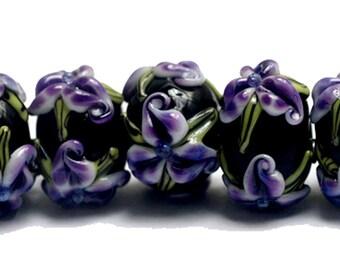 NEW! Handmade Glass Lampwork Bead Set - 10205701 Seven Purple Iris Rondelle Beads