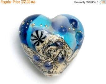 ON SALE 40% OFF Transparent Blue Seashell Heart Focal Bead - Handmade Glass Lampwork Bead 11815905