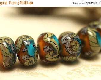 ON SALE 35% OFF Handmade Glass Lampwork Bead Set - Seven Amber's Ocean Rondelle Beads 10405501
