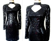 Little Black Sequin Dress / 80s Sequin Dress / Sparkling Cut-Out Party Dress /