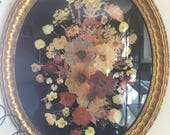 Reserved for Sara Large Victorian Botanical Composition Encased in Glass Old Gilded Oval Frame Vintage Dried Pressed Flowers Folk Art