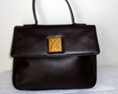 By Paloma Picasso  brown buttery smooth Italian leather Kelly bag, top handle  satchel ,purse vintage mint