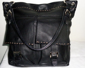 Vintage  Italian buttery thick, soft  superior quality leather in jet black  large tote, bag, hobo, satchel  pristine condition