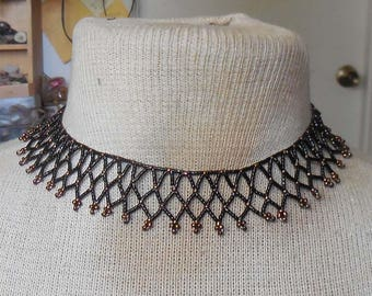 Netted Weave Beaded Choker Necklace in Black Coffee Brown Adjustable Length OlyTeam