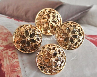 4 Medium Retro Vintage Style Gold Golden Floral Flower Military Jacket Coat Sweater Metal Button 1 Inch / 2.5 cm