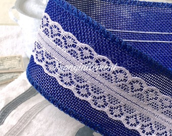2 Yards Large Wide Blue White Floral Flower Lace Rustic Country Wedding Party Decorations Burlap Linen Hemp Jute Ribbon Trim 2 Inches / 5 cm