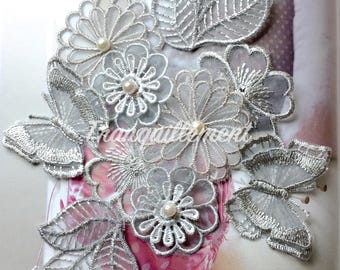 10 Mix Light Grey Gray Butterfly Leaf Organza Flower Floral Cocktail Wedding Dress Gown Faux Pearl Hair Craft Sew On Appliques Embellishment