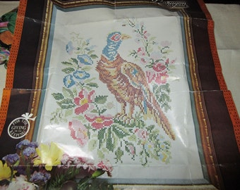 Vintage Paragon Pheasant Sampler Stamped Kit 0371 Cross Stitch Open but Complete