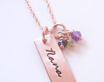 Personalized Necklace - Hand Stamped Jewelry with gemstones - Rose Gold Nana Necklace  - Tiny Stones - Rose Gold Filled Grandma Gift