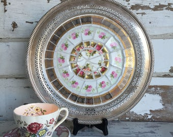 Vintage Broken China Mosaic Tray Pink and Yellow Transferware - Silver and Gold
