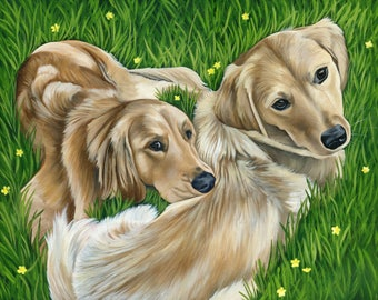 Custom Animal Portrait, Custom Pet Painting Portrait from Photo, Painting of your TWO pets, , Pet Memorial, Pet Lover Gift, size 18 x 24