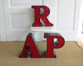Vintage Red Letter R A P, Industrial Letter, Red A, Red P, Red R, Vintage Plastic Letters, Vintage Sign