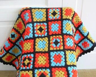 Vintage Granny Square Afghan, Vintage Blanket, Vintage Colorful Afghan, Granny Square Blanket, Vintage Throw, Vintage Crochet Afghan Blanket