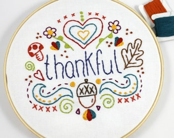 Thanksgiving Hand Embroidery Digital Pattern Acorn Fall Autumn