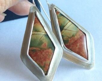 Cherry Creek Jasper Earrings - Kite Shaped Earrings - 25th Anniversary Gift - Artisan Jewelry