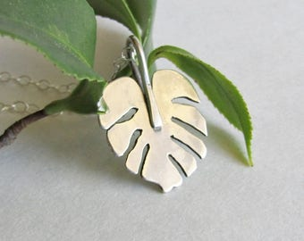Monstera Leaf Pendant - Tropical Foliage Necklace - Botanical Jewelry