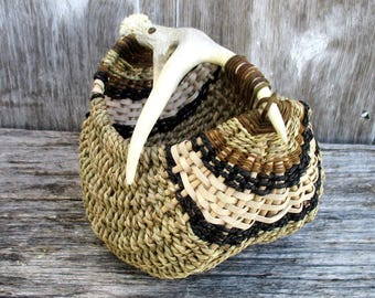 Antler Basket with Real Deer Antler Shed by Marcia Whitt
