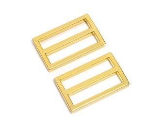 "100pcs - 1 1/2"" (38mm) Flat Diecast Slide Buckle - Gold - (FBK-117) - Free Shipping"