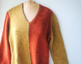 Fall fashion vintage 90s  mustard- teracotta, acrylic blend, thick knit, block sweater. Made by Cubix. SizeS-M.