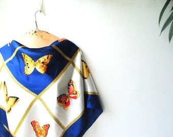 Exotic vintage 80s, shiny polyester, navy blue and white squares , large scarf with a multicolor butterflies print.