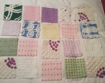 """1 PENNY SHIPPING Pastels   4"""" Squares  Vintage  Chenille fabric  Patchwork"""