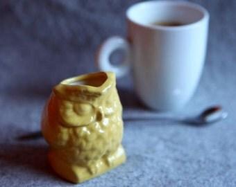 Small Owl Vase or Creamer in Yellow Glaze