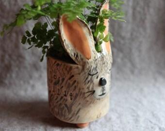 Ceramic Rabbit Planter in Stoneware