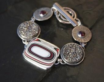 fordite, silver titanium druzy, garnet and sterling silver metalwork link bracelet
