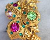 Vintage Christmas Rhinestone Christmas Ornament Brooch