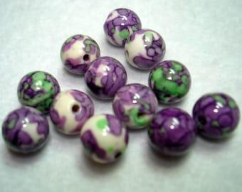 Ocean White Jade Purple Green Splashed Round Beads (Qty 12) - B3225