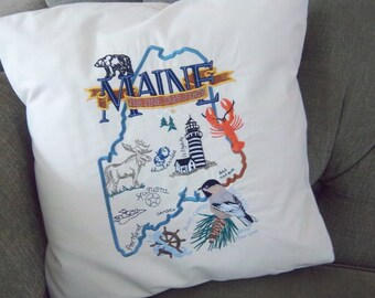Embroidered State Map Pillow Maine