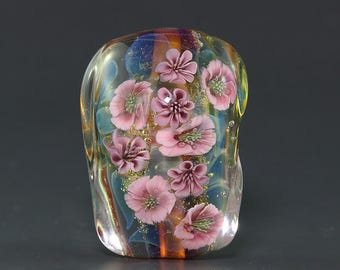 Lampwork focal glass flower Bead by Ikuyo SRA