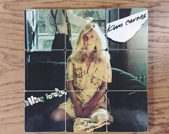 Kim Carnes recycled Mistaken Identity music album coasters and record bowl | home decor | wedding gift
