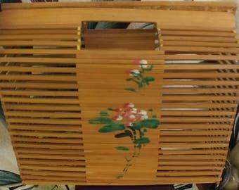 Vintage Bamboo Wicker Box Basket Purse Hangbag Tropical Tiki