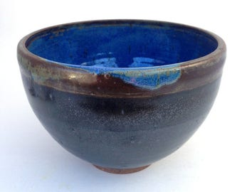 28 oz. Charcoal and Blue Stoneware Serving Bowl