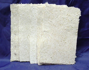 6 Sheets of Cotton and Corn Stalk Handmade Paper with Deckle Edges