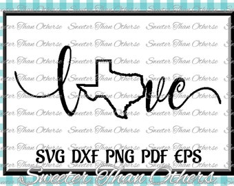 Texas outline Love SVG T shirt Design Vinyl  (SVG and DXF Files) Electronic Cutting Machines, Silhouette, Cameo, Cricut, Instant Download