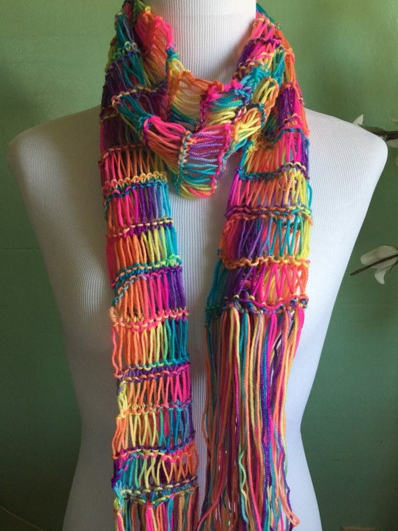Ladies Hand Knit Rainbow Shimmer Accessory Scarf