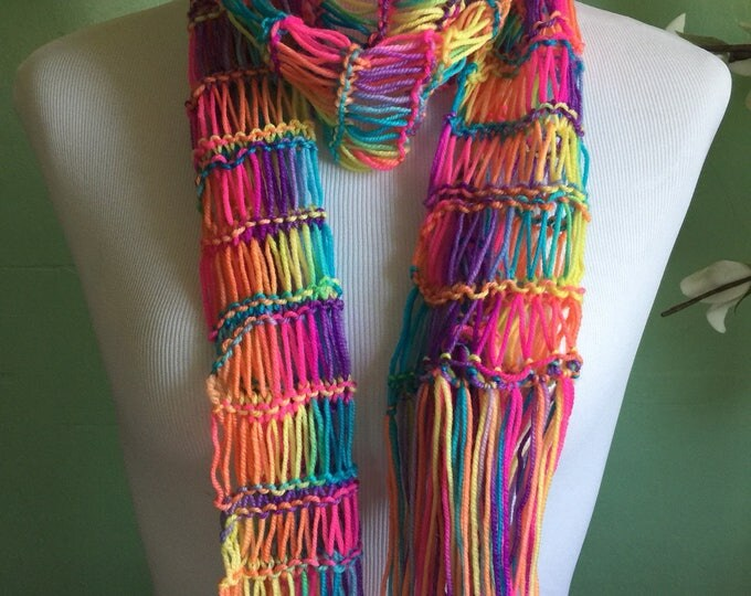 Featured listing image: Ladies Hand Knit Rainbow Shimmer Accessory Scarf