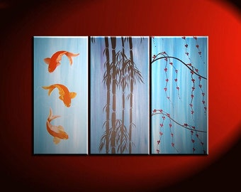 Beautiful Koi Fish Painting in Blues Triptych Wall Art Bamboo Cherry Blossoms Custom 45x30